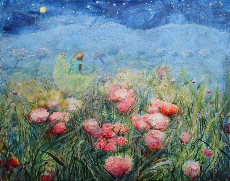 Et la nuit murmurante d'étoiles, tu les rendais jalouses en dansant. François Pagé Peinture Huile sur Toile