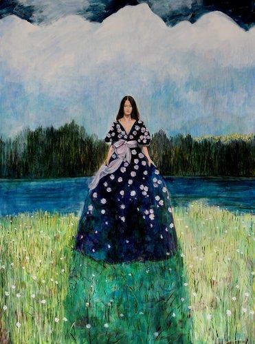 Ta robe avait embrassé le jardin, et les fleurs comme des baisers déposés étaient le refuge de nombreux cœurs. François Pagé Painting Oil on Canvas