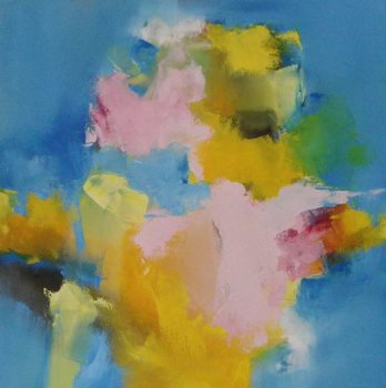Summertime Yellow with pink and Blue Wendy Hyde Peinture Huile sur Toile