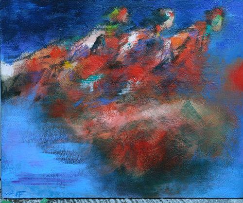 Sky chefs Harald Wolff Peinture Huile sur Toile