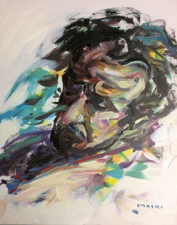 Self portrait #72 Masri Hayssam Peinture Acrylique, Craie sur Toile