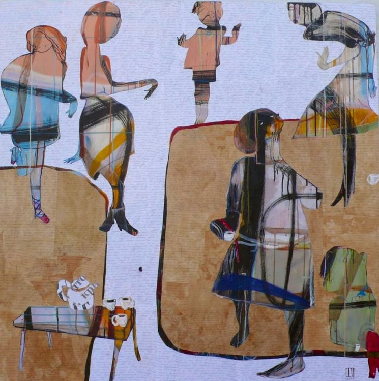 Macha's Last tea Party Ilya Volykhine Peinture Huile, Collage, Encre sur Toile