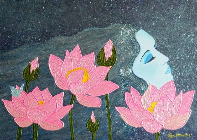 Magic Dreams Surreal Lotus Flower Painting By Liza Wheeler 2018