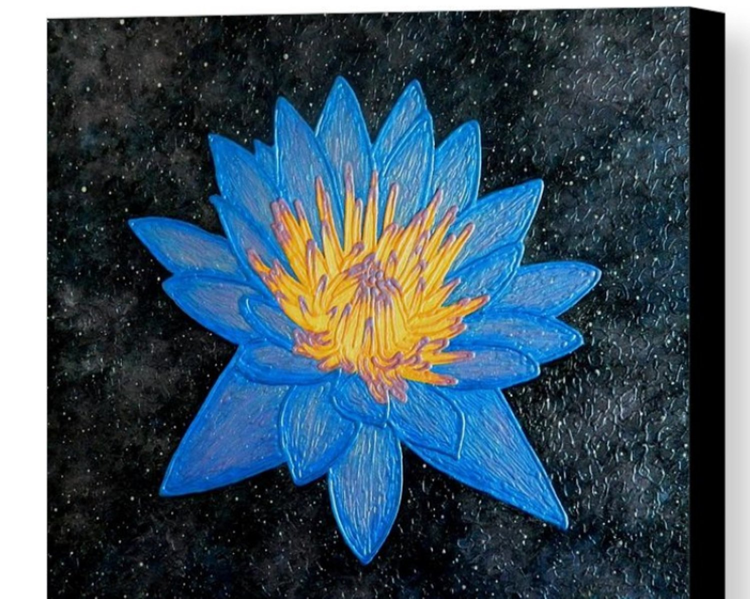 Lotus Galaxy Abstract Blue Lotus Flower Painting By Liza Wheeler