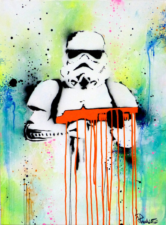 startrooper orange by jp malot 2018 painting acrylic watercolor
