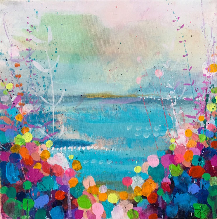 Coastal Blue Sandy Dooley Painting Acrylic on Canvas