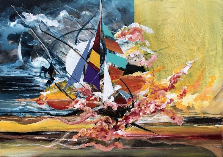 Environmental Crisis Large Painting Acrylic Abstract