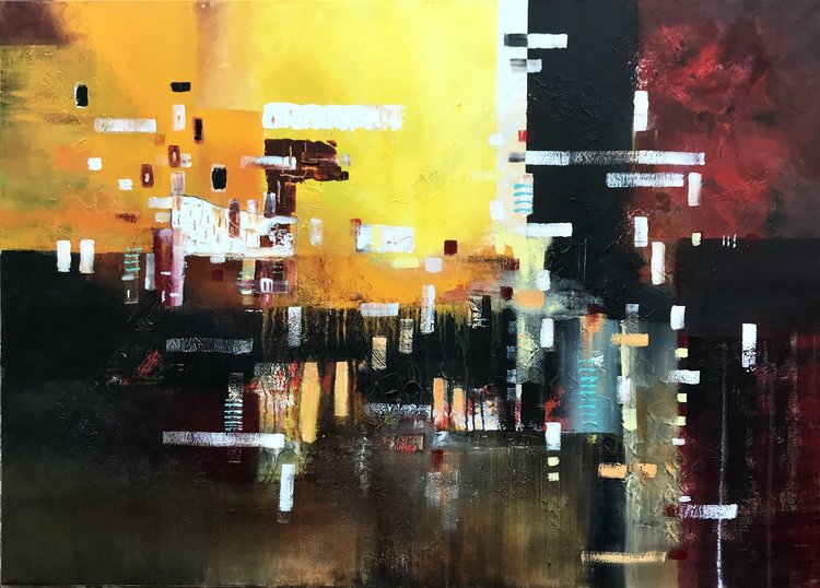 Big City Life Large Painting Acrylic Abstract