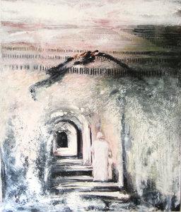 Le Moine et l'oiseau Vincent Verdeguer Peinture Acrylique, Pastel, Pigments, Vinyle sur Toile