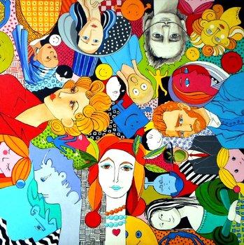 Galerie de Portraits Sophie Duplain Peinture Acrylique, Encre de Chine sur Toile