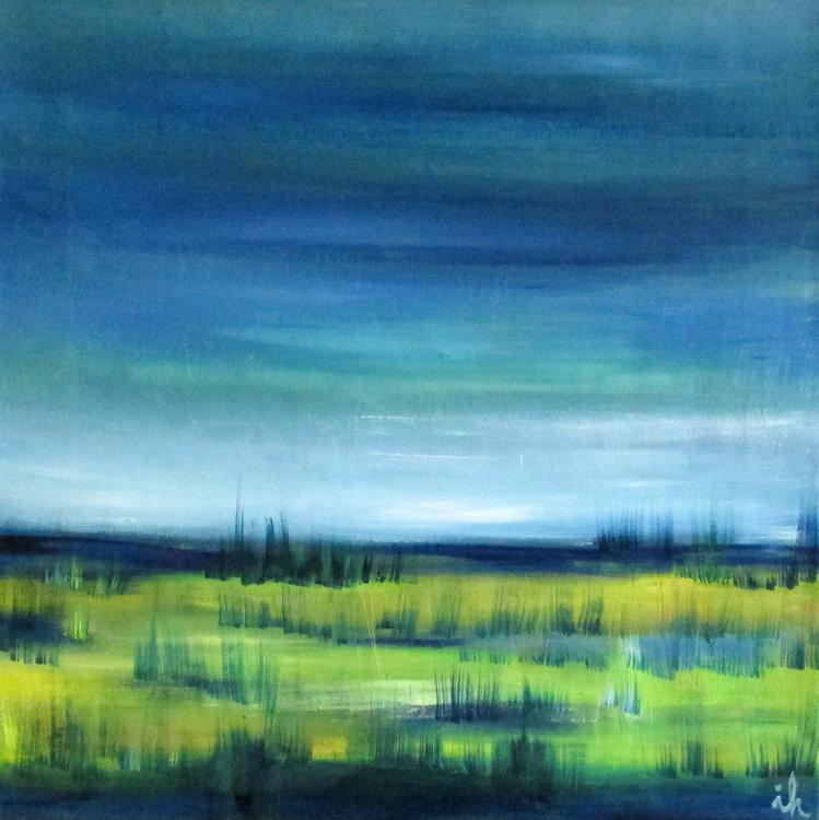 Landschaft mit blauen Felder, 3 Ingrid Knaus Painting Oil on Canvas