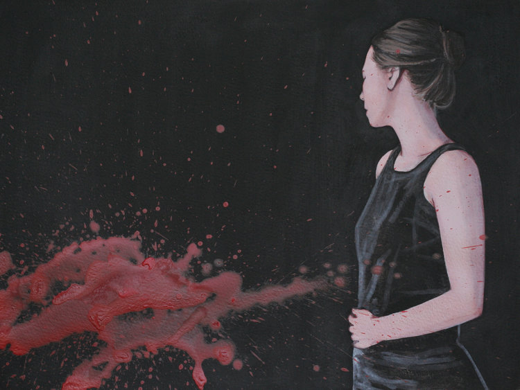 Rote Farbe By Karoline Kroiss 2014 Work On Paper Acrylic On Paper