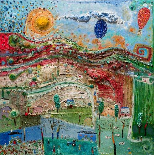 Voyage en ballon au dessus des vallons. Eric Chomis Painting Oil on Canvas