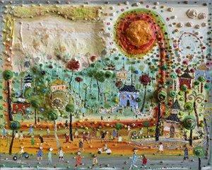Souvenir de voyage-Bali. Eric Chomis Painting Oil on Canvas