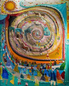 Spirale barge, ta joie fait loi Eric Chomis Painting Oil on Canvas