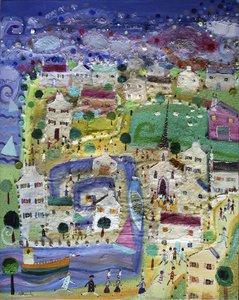Les bleus de l'âme-Bretagne. Eric Chomis Painting Oil on Canvas
