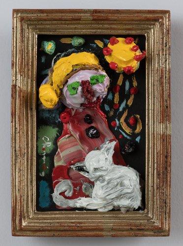 La dame au chien. Eric Chomis Painting Oil on Wood