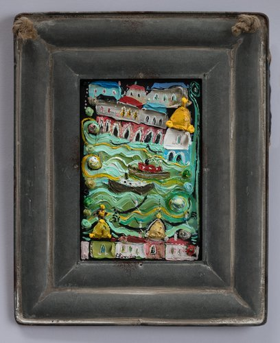 Venise. Eric Chomis Painting Oil on Wood