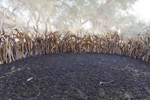 """295 Sacred Site, Enclos au Tchad, 2013, 16°48'2"""" N 21°59'58"""" E, tirage 4/11, tirage pigmentaire sur papier Hahnemühle Jacques Pugin Photographie Digital sur Papier"""