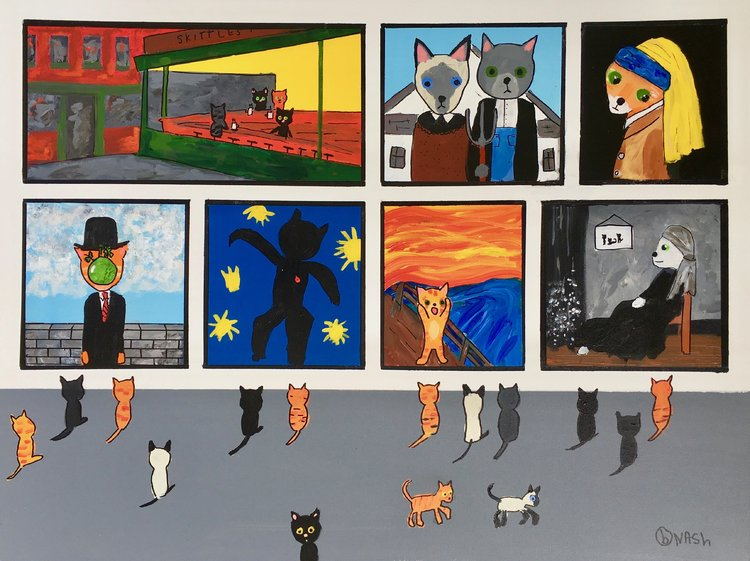 The Cat Museum Brian Nash Painting Acrylic on Canvas