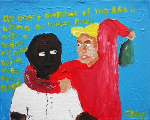 Bad Painting number 08: an angry member of the EDL hitting an Indian man with a bottle on the head Jay Rechsteiner Painting Acrylic on Canvas