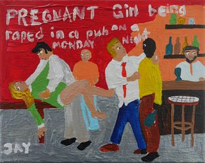 Bad Painting nubmer 12: pregnant girl being raped in a pub on a Monday night Jay Rechsteiner Painting Acrylic on Canvas
