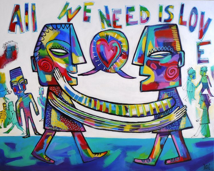 All we need is love Florence Launay Painting Acrylic on Canvas