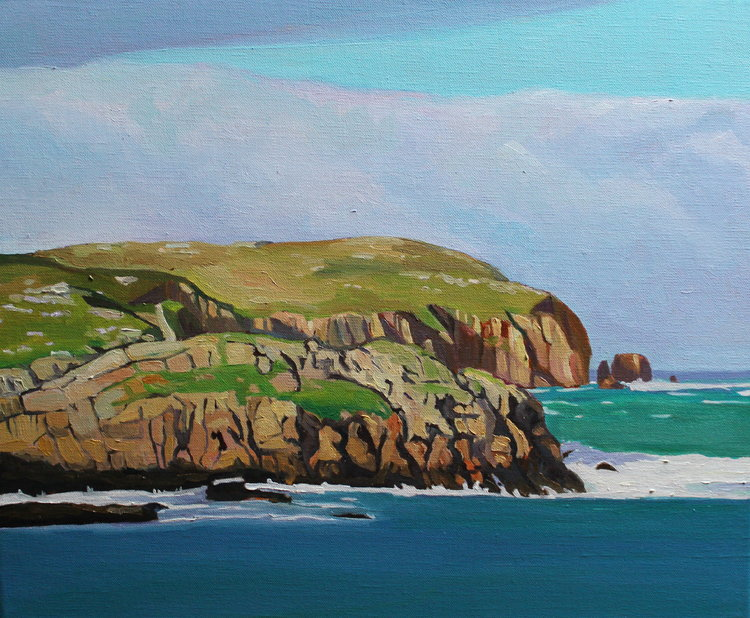 Over to Owey Island Emma Cownie Peinture Huile sur Lin