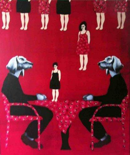 Les chiens à table Dominique Albertelli Painting Acrylic