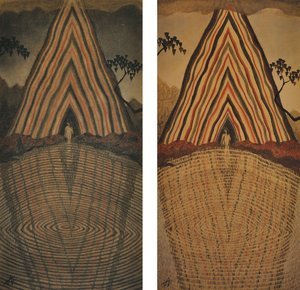 Two One, One Two (diptych) Thomas Allen Drawing Charcoal
