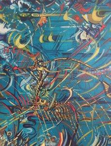 LA PUCE ELECTRONIQUE 1997 HST 66X55 Denis Brasil Peinture  sur Toile