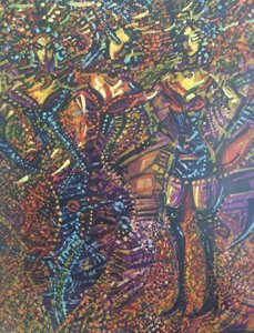 DEDAIN VIOLACÈ 1998 HST 73X60 Denis Brasil Peinture  sur Toile