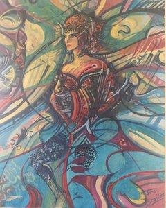 EGYPTIENNE 1994 HST 110X90 Denis Brasil Peinture  sur Toile