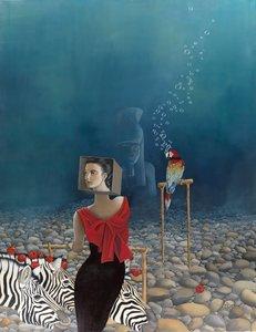 Au Vivier des Illusions Versatiles Dominique Hoffer Painting Oil on Linen