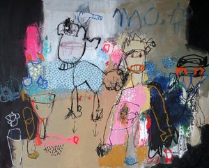 Un chat dans la gorge Nadine Bourgne Painting Acrylic, Collage, Pencil, India ink on Canvas
