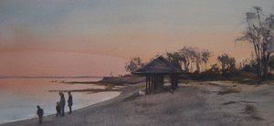 Winterwalk, Greenwich Beach Rachael Grimm Peinture Aquarelle