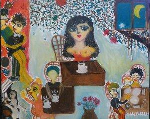 Café Nocturne/Nightly Café Lumina Wang Malerei Öl
