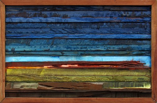 Sliced sunset Claudio Boczon Malerei Acryl, Collage auf Holz