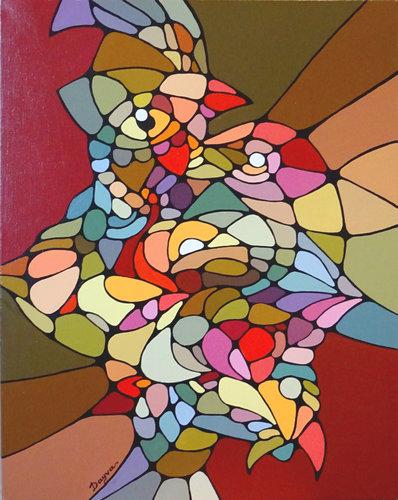 Coq Dayva Achikhman Peinture Acrylique sur Toile