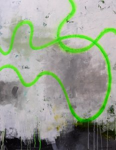 Drift Line (Green) Daniela Schweinsberg Peinture Acrylique, Graffiti sur Toile