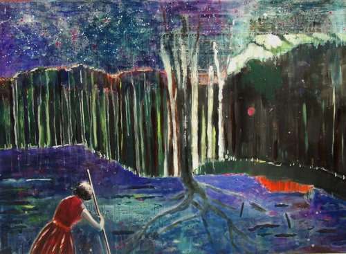 Night comes Tanja Vetter Painting Oil on Wood