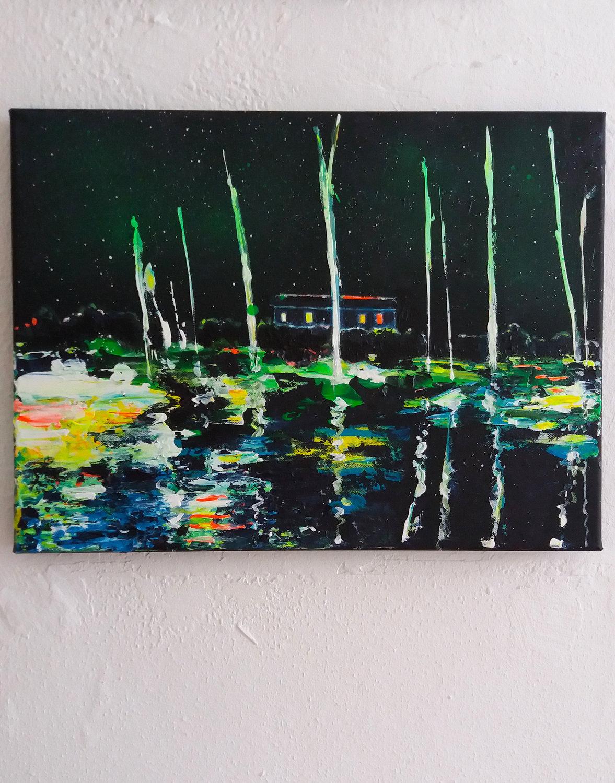 Haus Am See Tanja Vetter Malerei Acryl Auf Leinwand. U2039 U203a