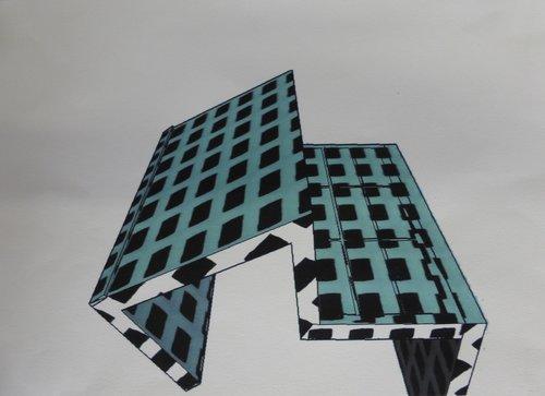 Inside , Building Rémi Delaplace Impression Encre sur Papier
