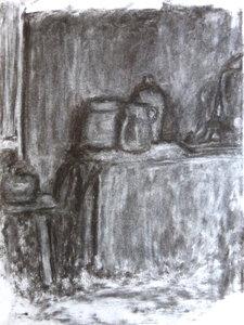Académies, Nature morte Rémi Delaplace Oeuvre sur papier Fusain sur Papier
