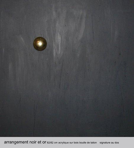 Arrangement en noir et or Marcel Alma Peinture Acrylique