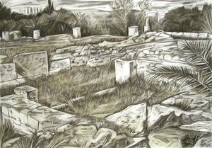 Ancient ruins Markos Kampanis Drawing Charcoal on Paper