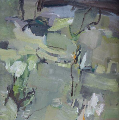 Schichtung (Grüngelb) Beate Köhne Painting Oil on Canvas