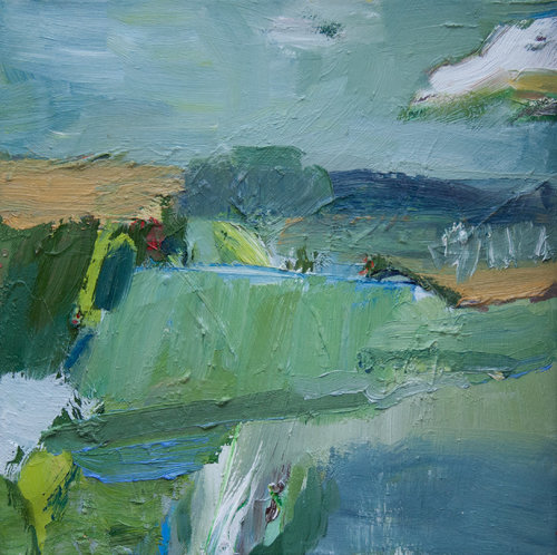 Landschaft (Rudow) II Beate Köhne Malerei Öl auf Leinwand