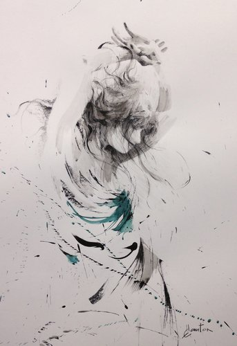 Danse Ewa Hauton Peinture Fusain, Encre de Chine sur Papier