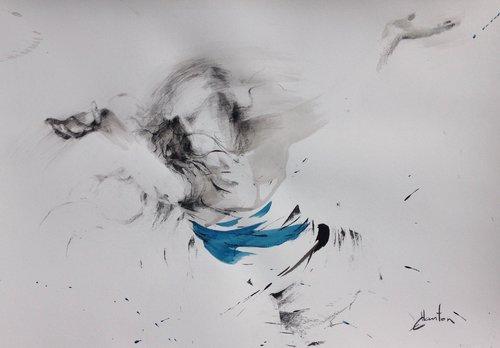 Encres de chine, fusain et pierre noire sur papier. Ewa Hauton Peinture Crayon, Fusain, Encre de Chine sur Papier